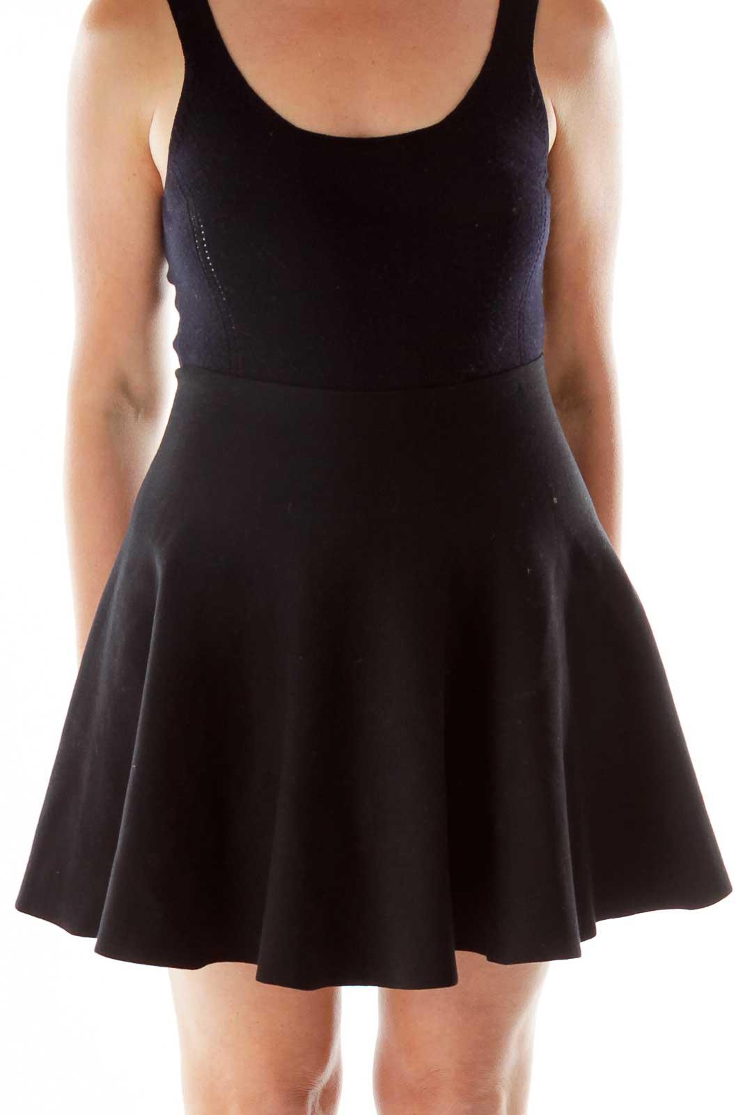 Black Flared Skirt Front