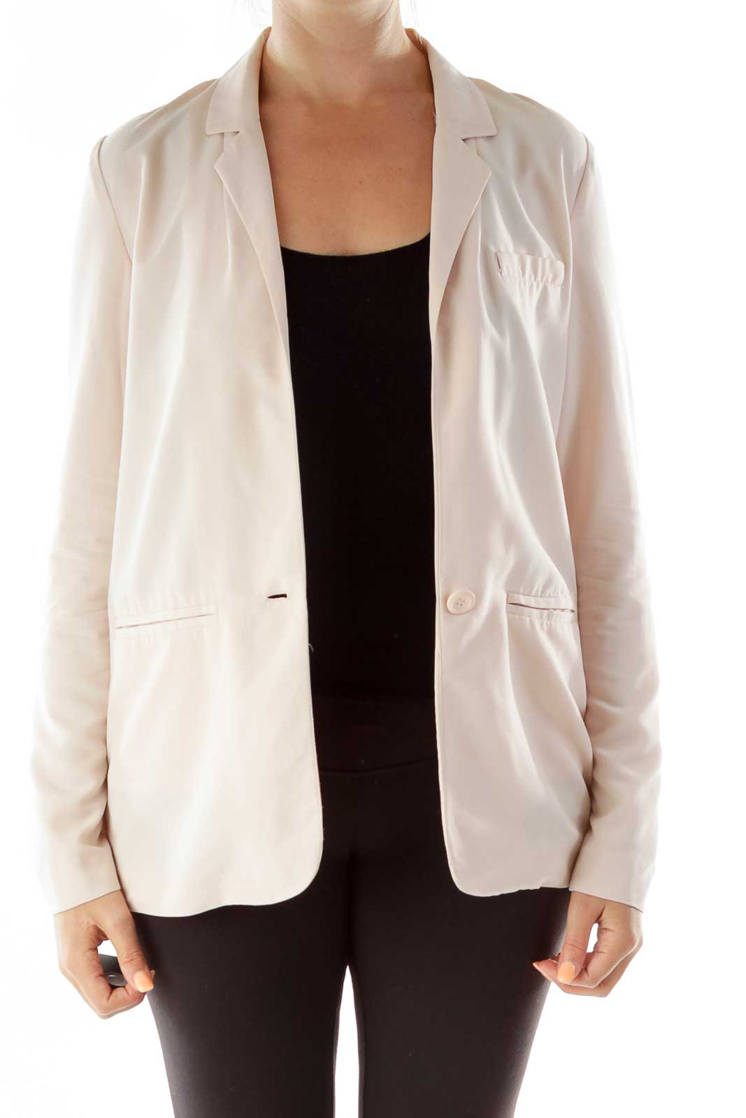Pink Button Blazer Front