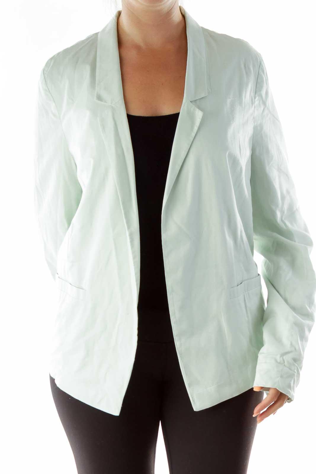 Mint Green Buttoned Blazer Front