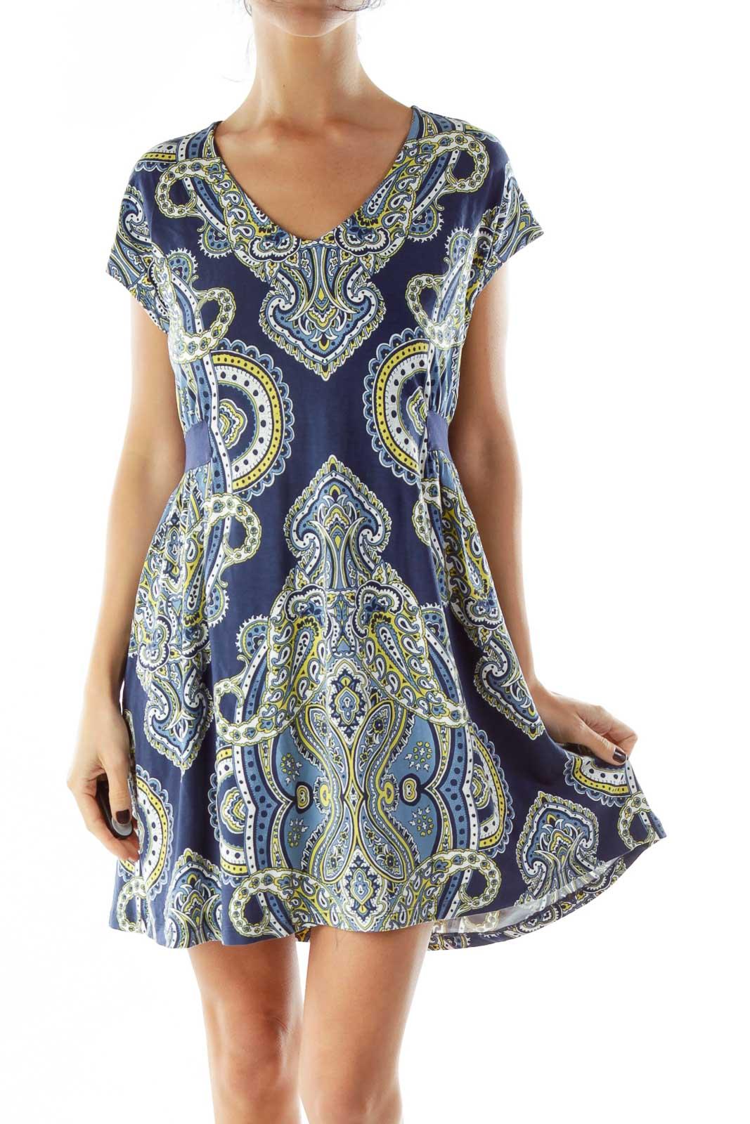 Blue Yellow White Print Paisley Dress Front