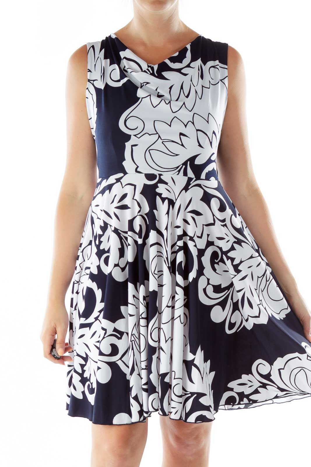 Navy White Print Sleeveless Day Dress Front