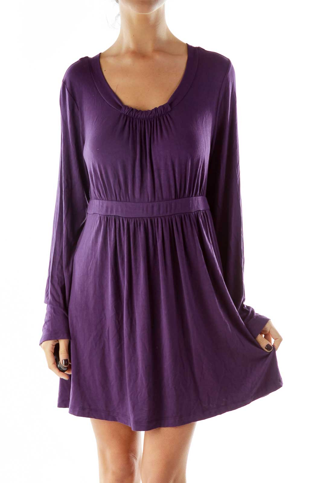 Purple Scrunched Loose Day Dress Front