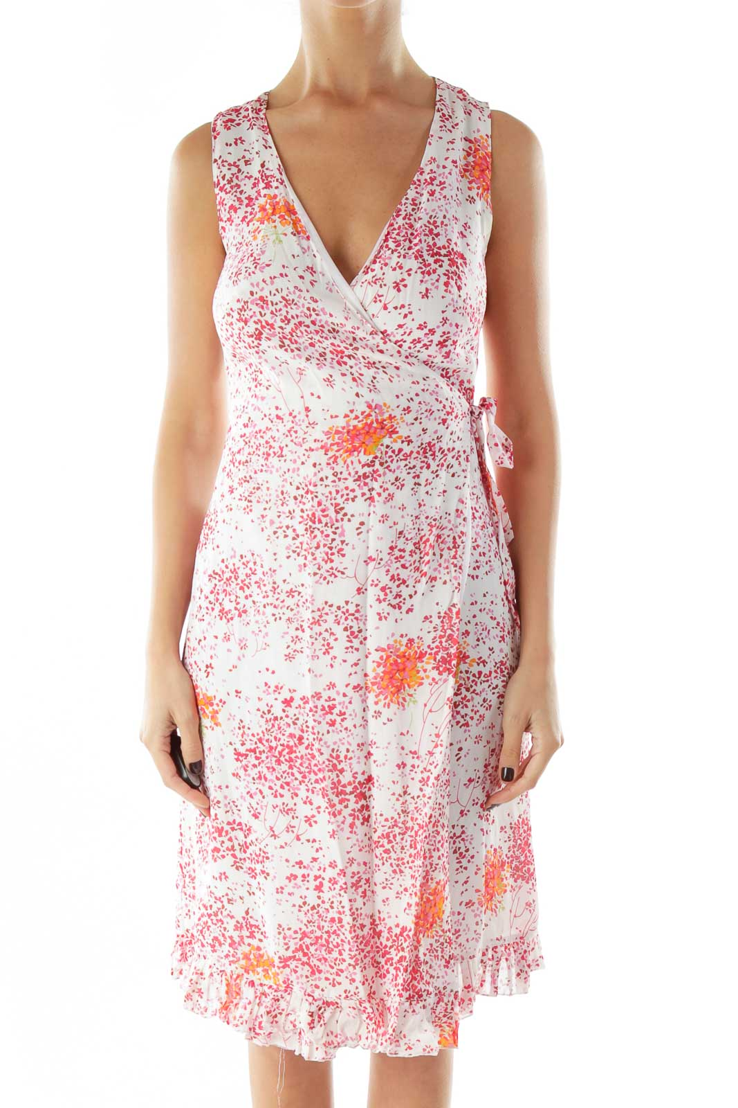 Pink Floral Wrap Day Dress Front