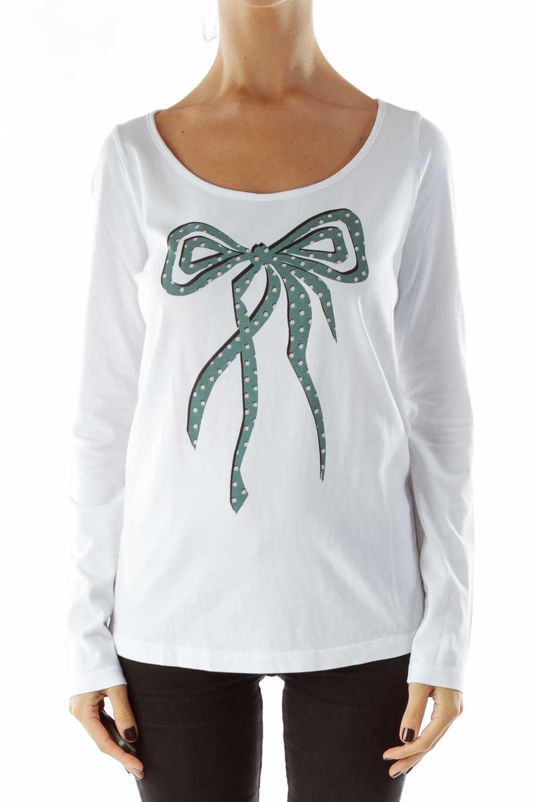White Bow-Tie Print Shirt Front