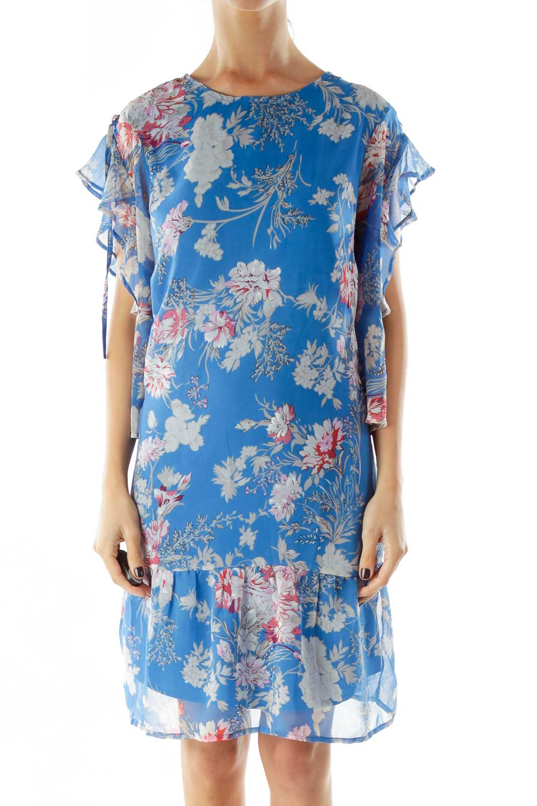 Blue Floral Print Day Dress Front