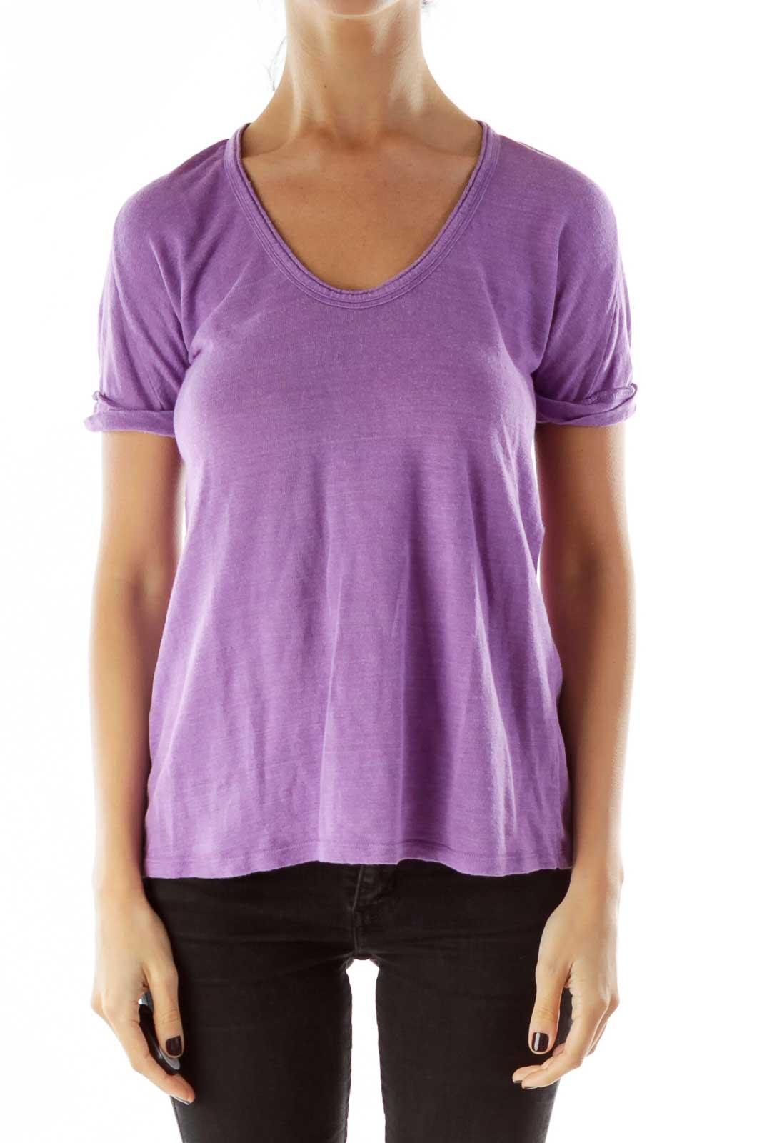 Purple Round Neck Linen T-shirt Front