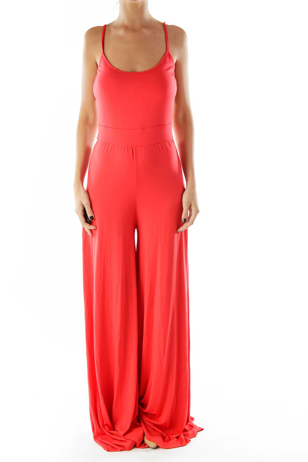 Red Sleeveless Jumpsuit Front