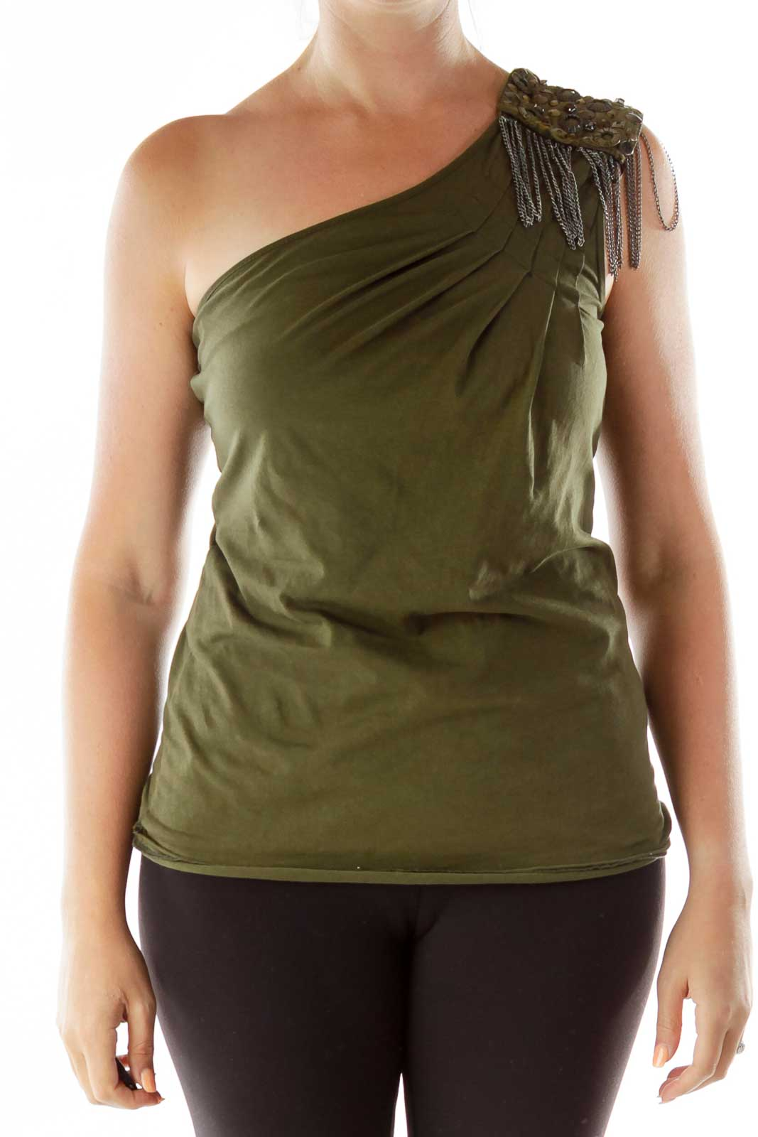 Green One-Shoulder Studded Top Front