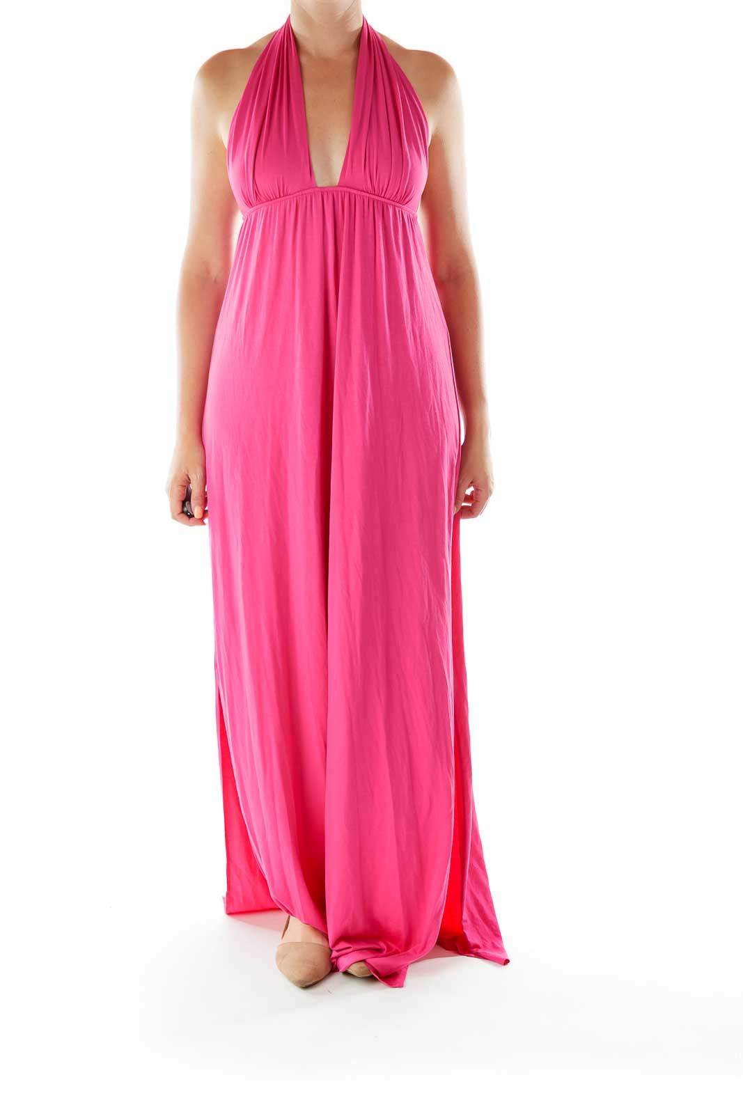 Hot Pink Strapless Day Dress Front