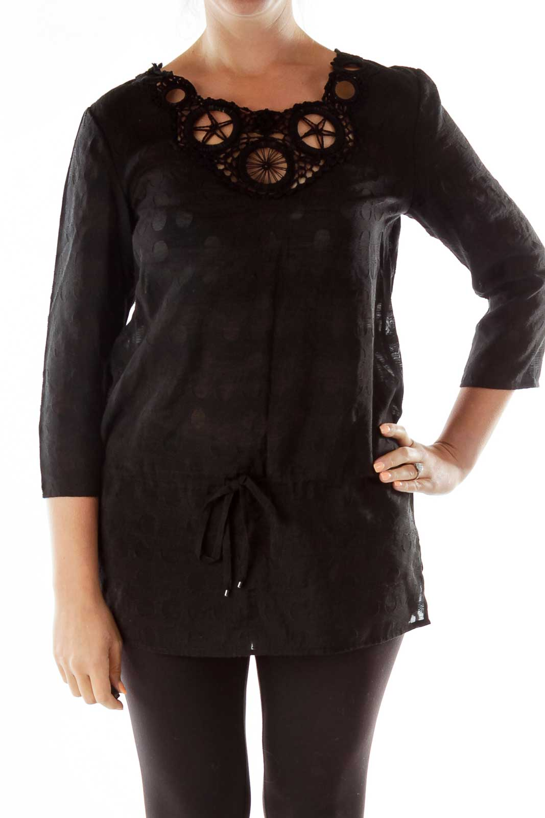 Black Crocheted Drawstring Tunic Front