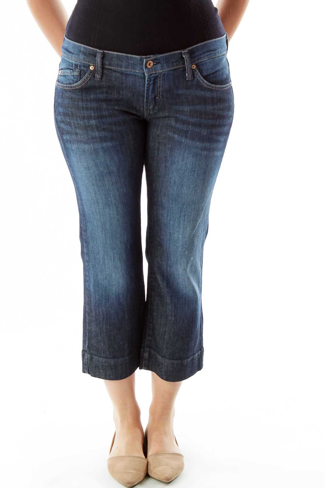 Navy Straight-Leg Cropped Jeans Front