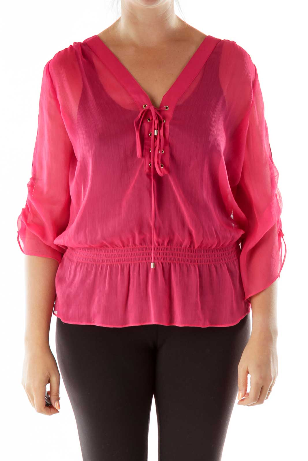 Pink Lace-up Blouse Front