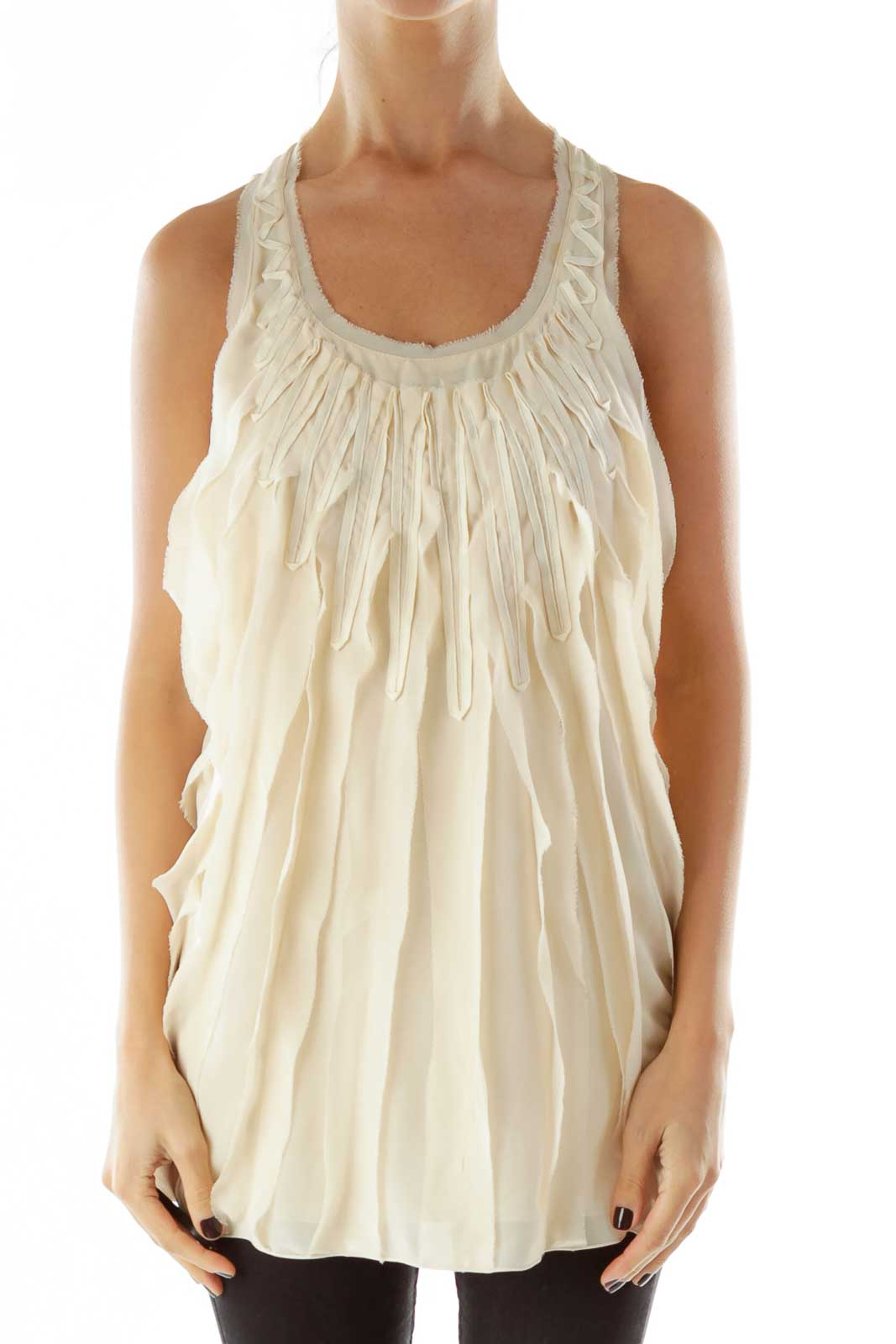Beige Ruffled Tank Top Front