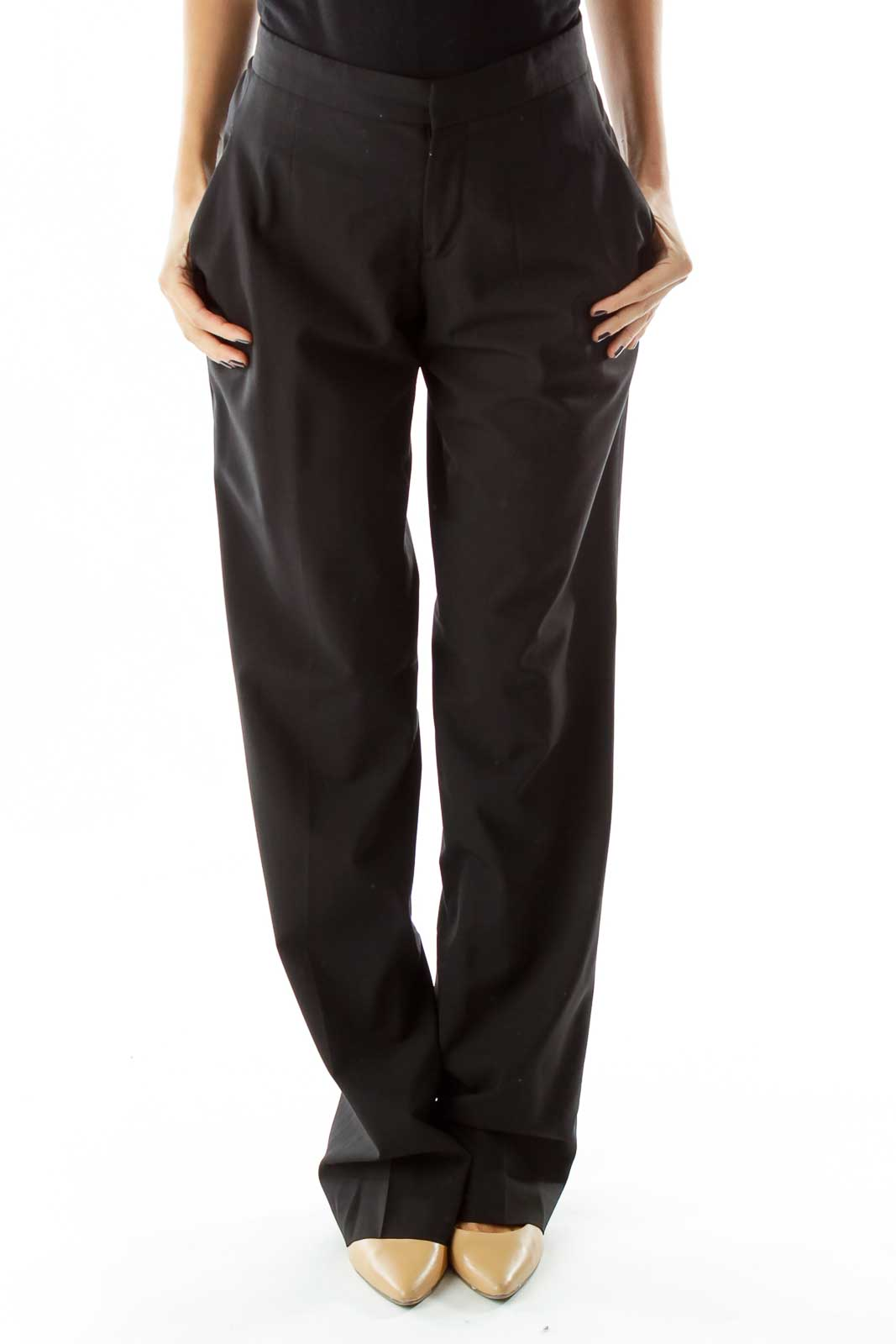 Black Pocketed Straight-Leg Pants Front