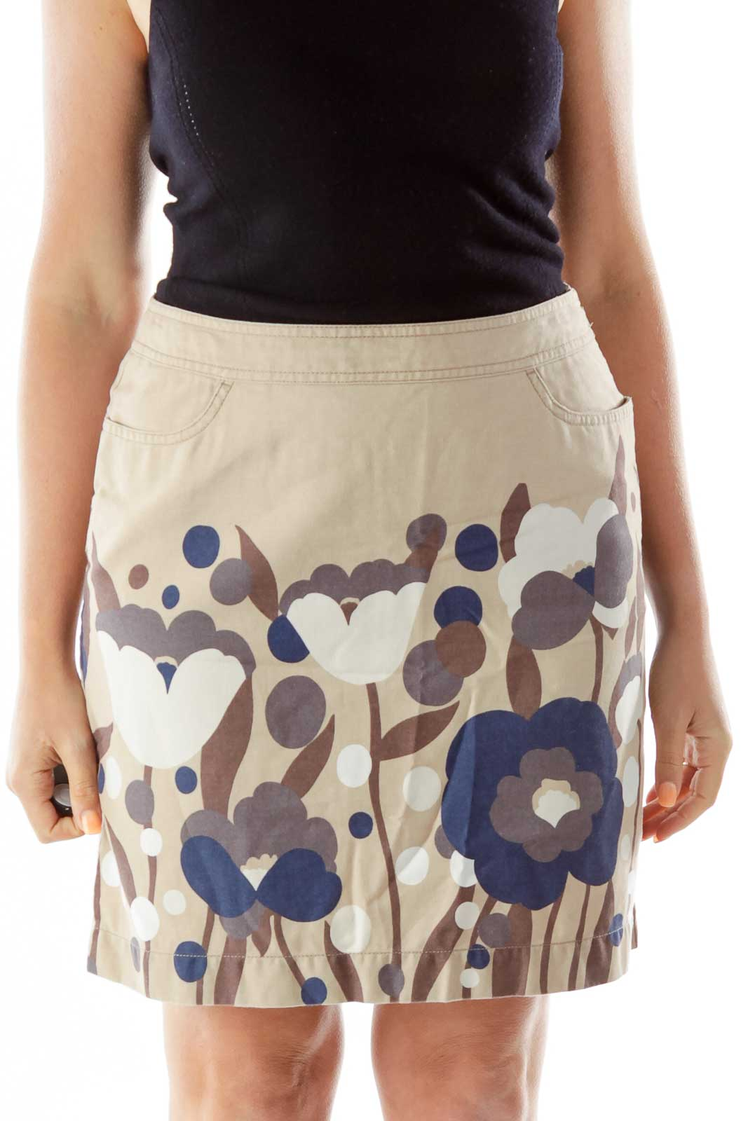 Beige Navy Brown Flower Pencil Skirt Front