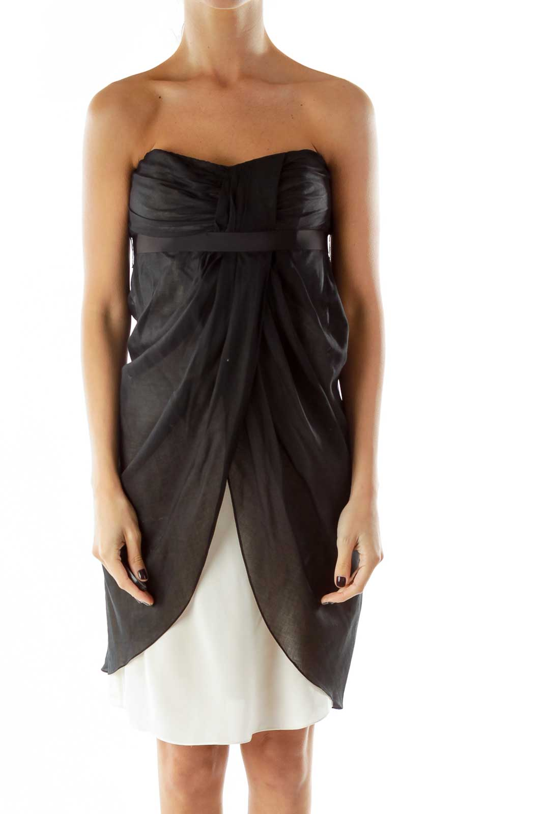 Black White Sheer Strapless Belted Dress Front