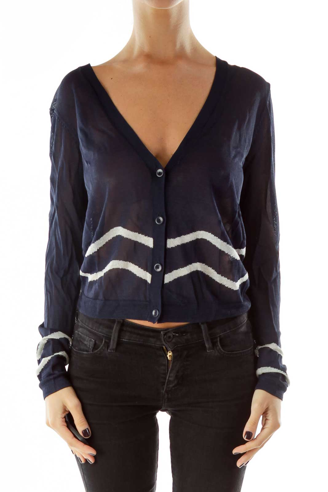 Navy White Striped See-Through Cardigan Front