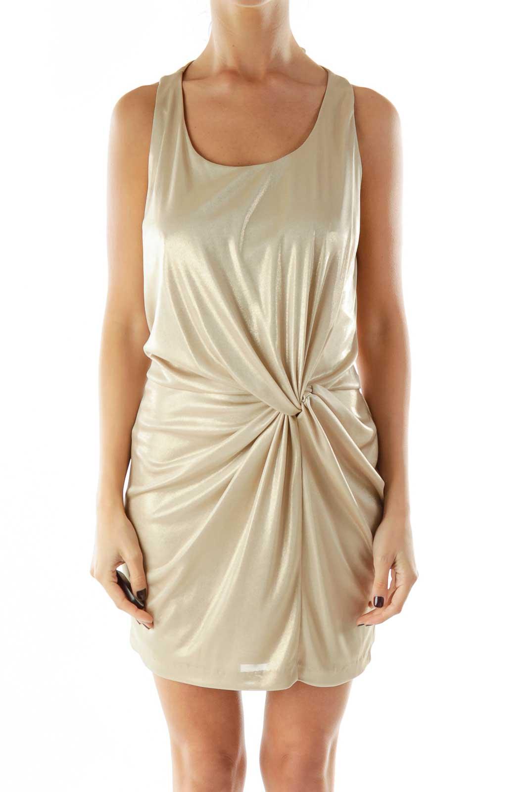 Gold Round Neck Scrunch Detail Cocktail Dress Front