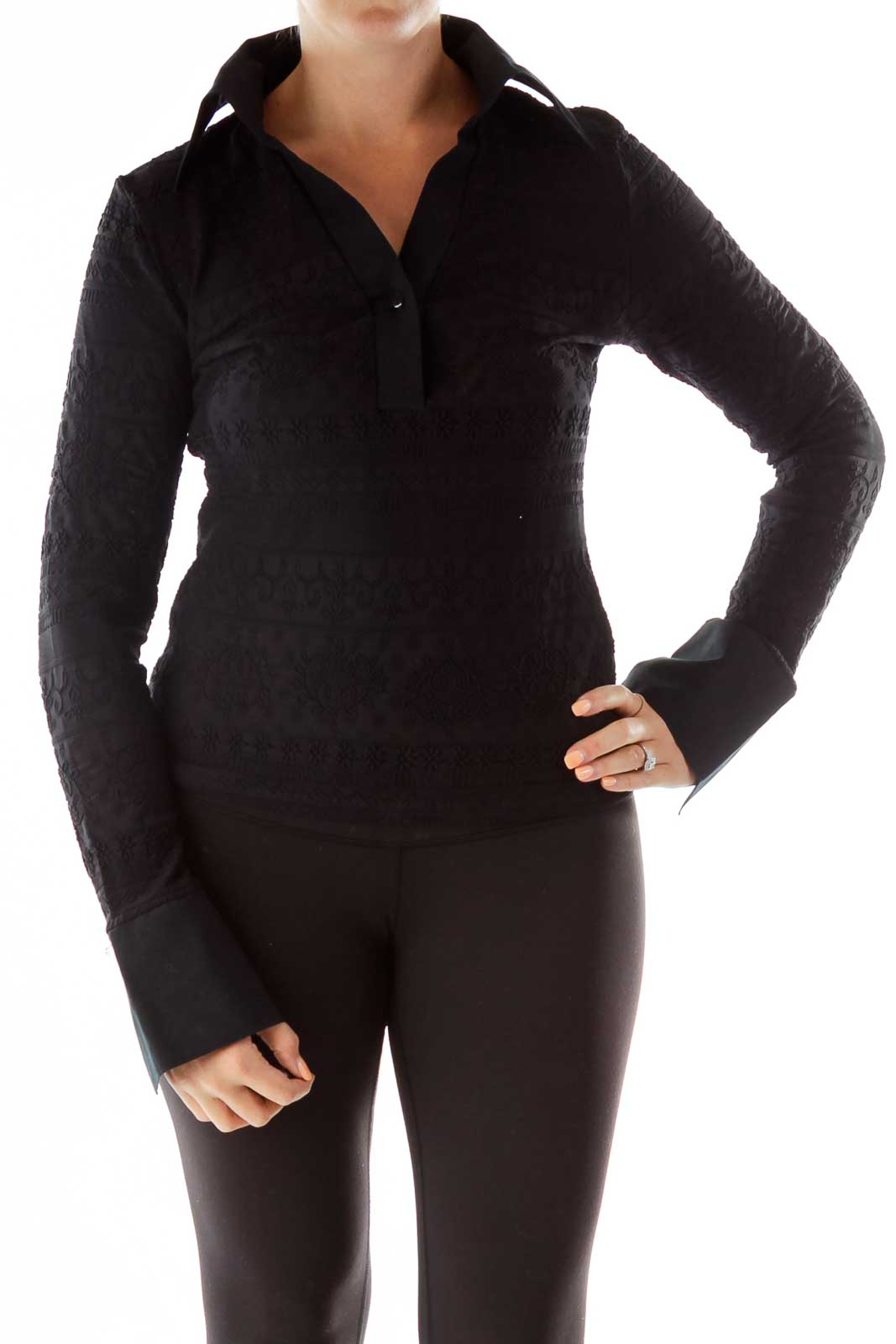 Black Embossed V-Neck Collared T-Shirt Front