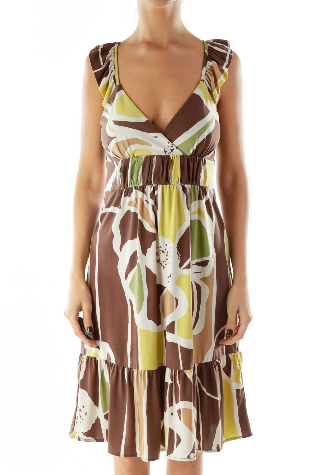 Brown Green Beige Ruffled Sleeveless Print Dress Front
