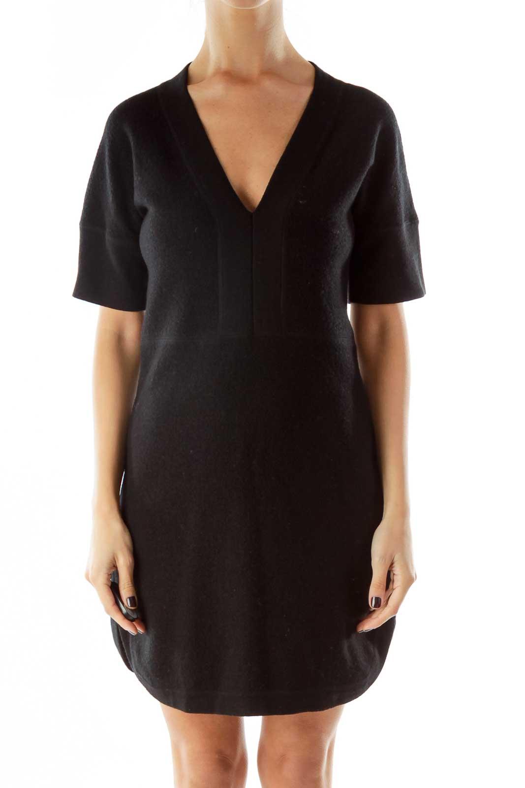 Black Wool Vneck Dress Front