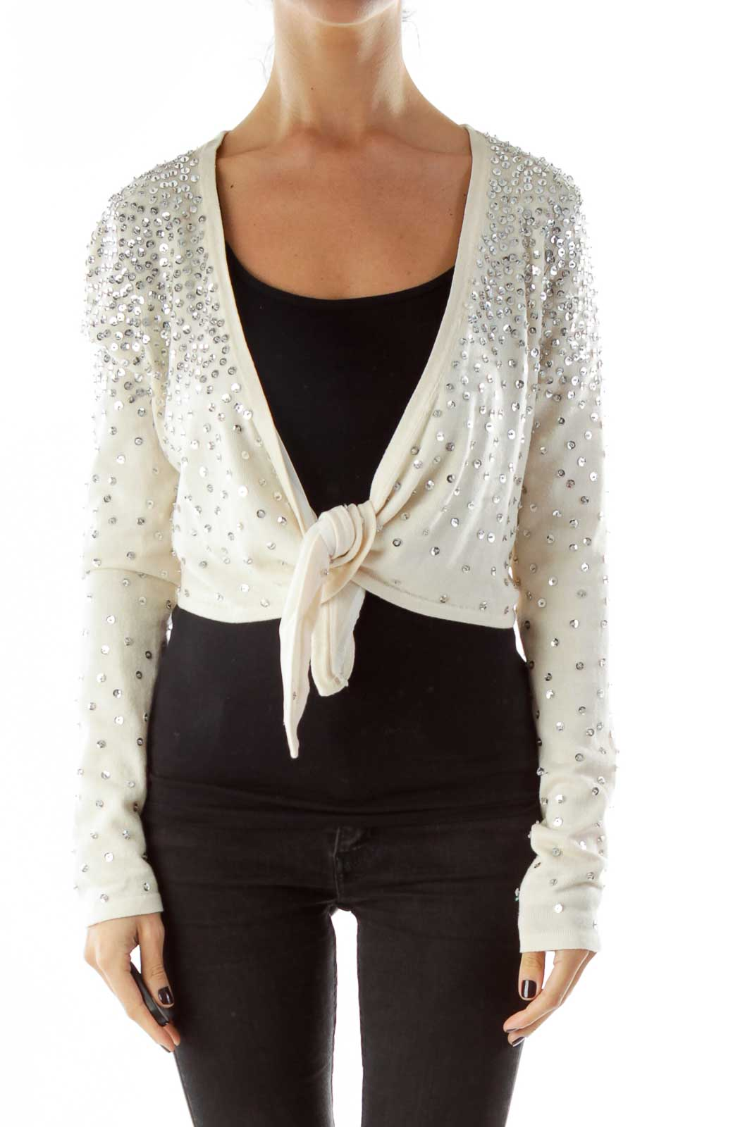 Cream Sequined Cropped Cardigan Front