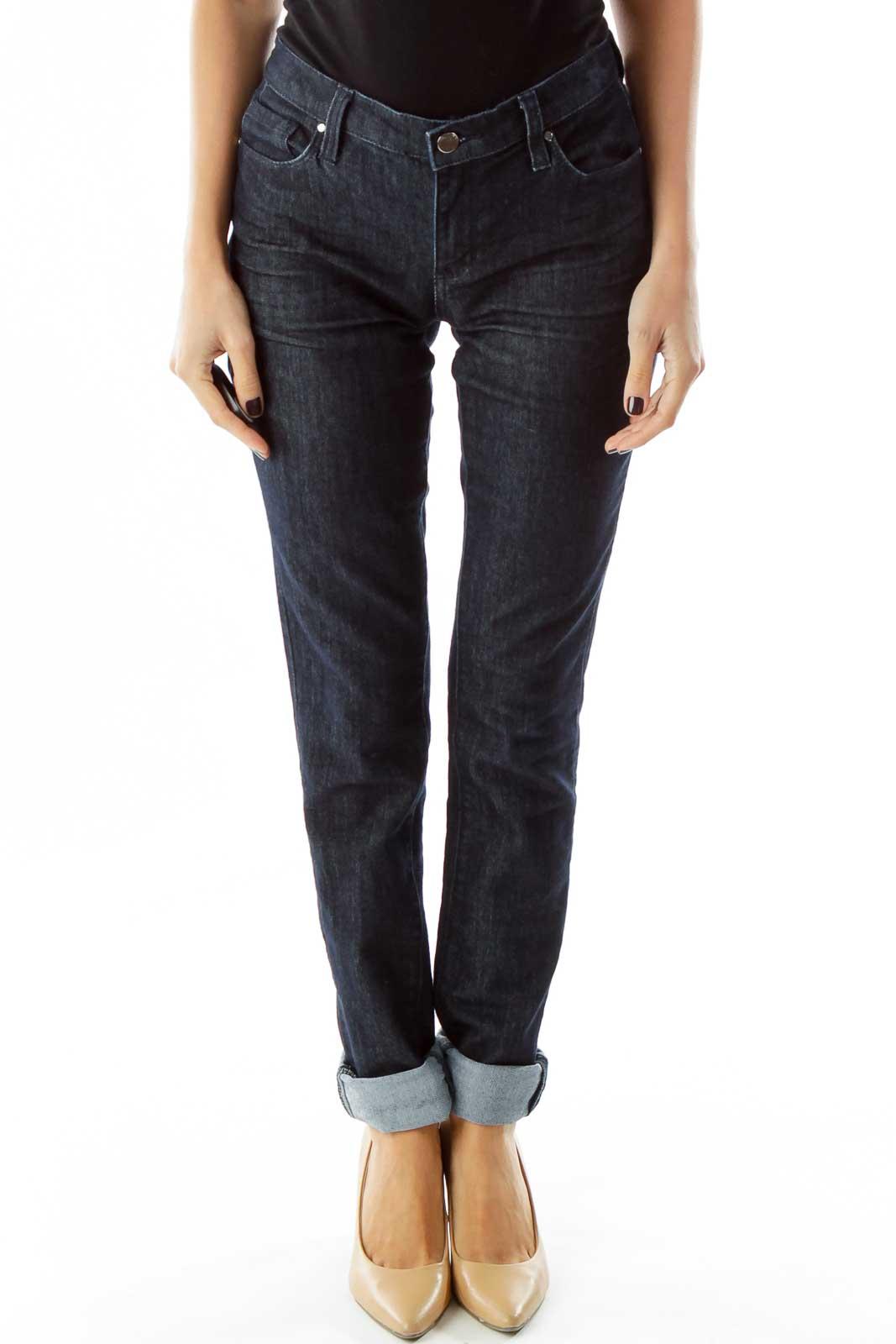Navy Denim Skinny Jeans Front