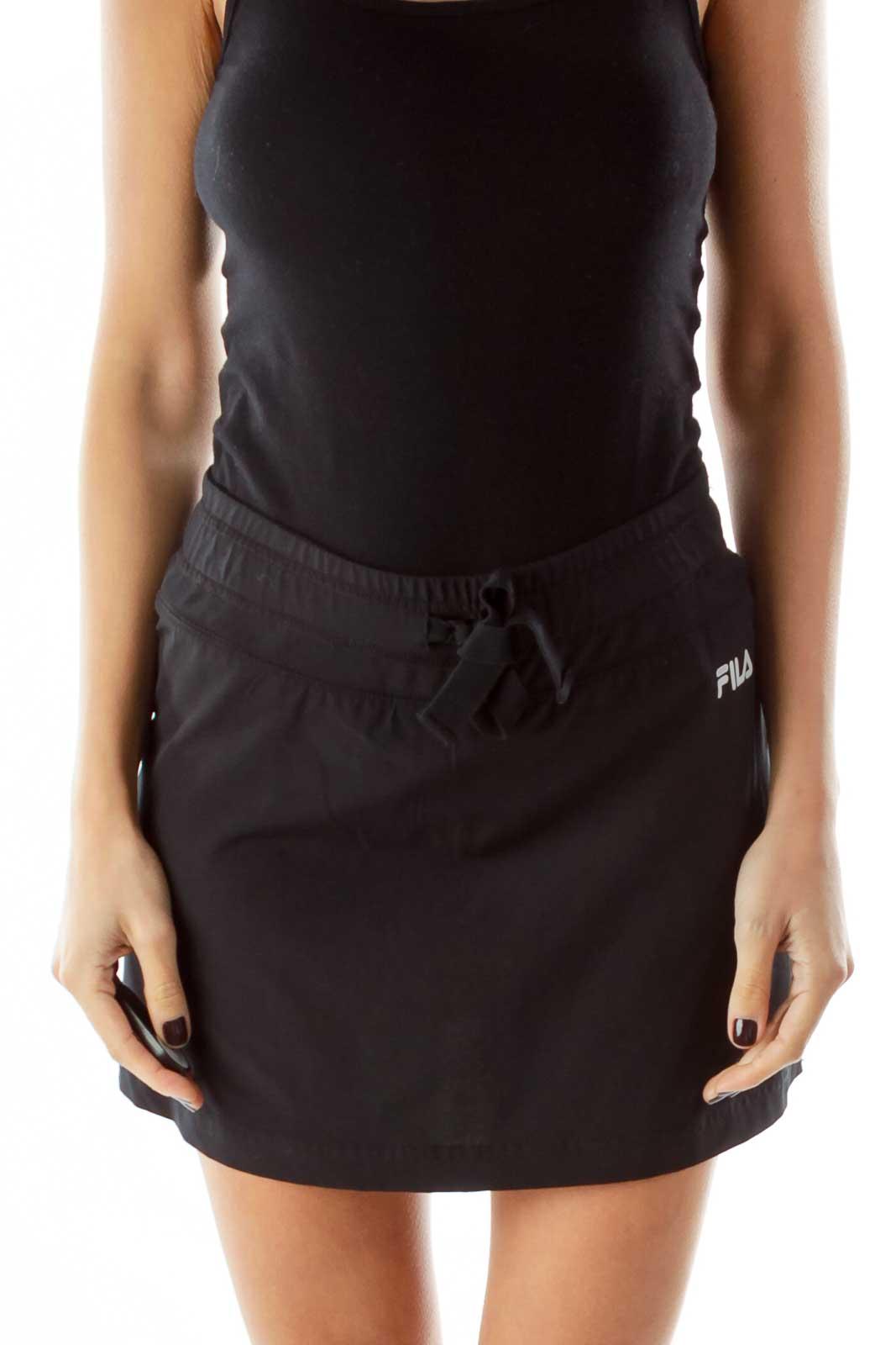 Black Athletic Mini Skirt Front