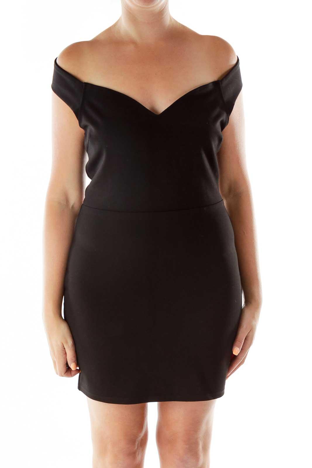 Black Open-Back A-line Cocktail Dress Front