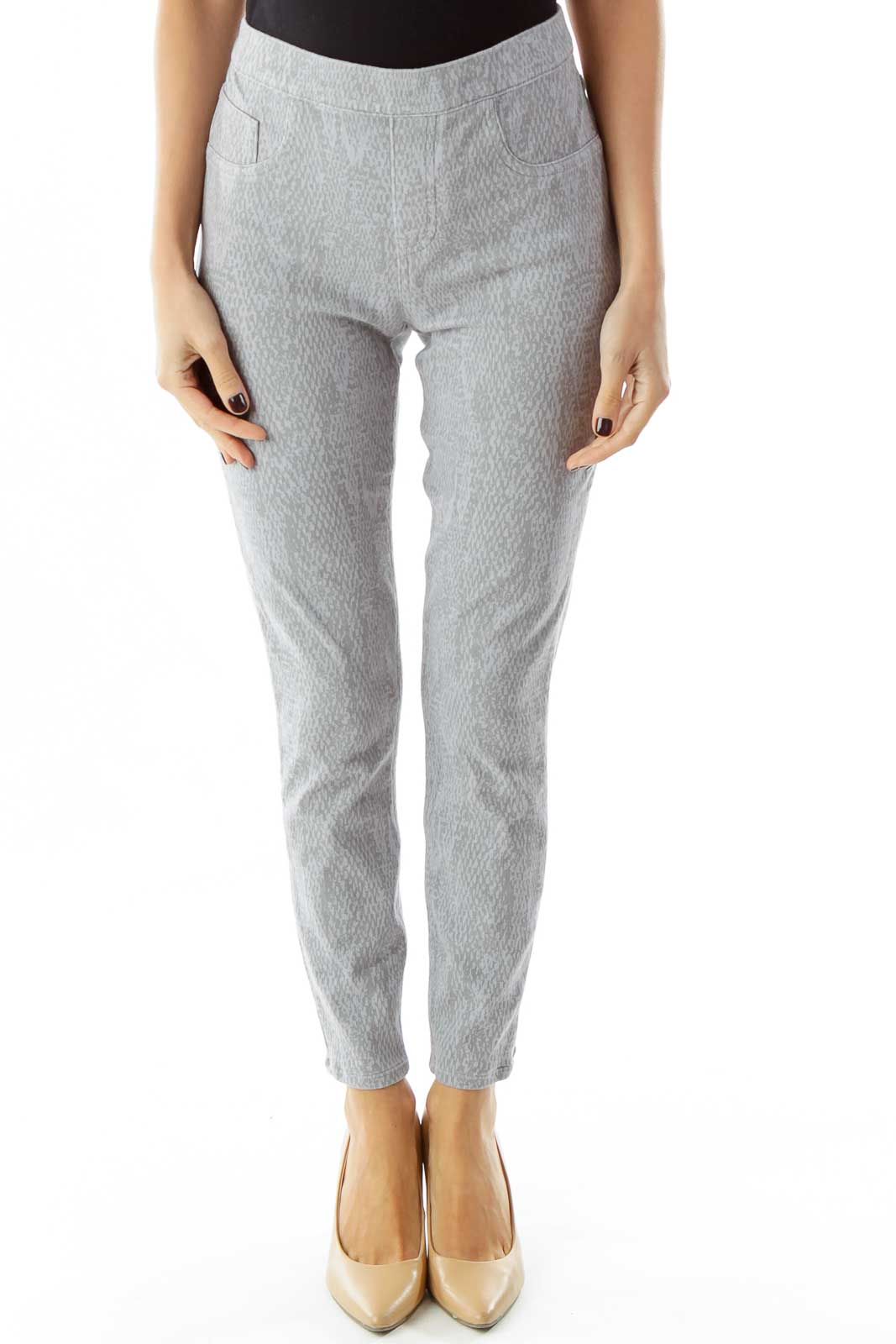 Gray Pocketed Print Jeggings Front