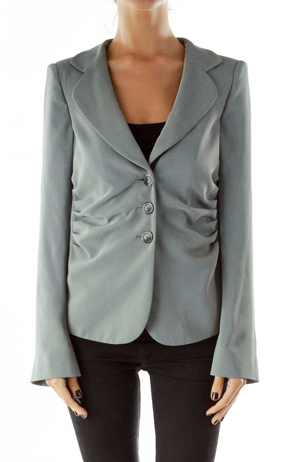 Gray Single-breasted Scrunched Shoulder Pads Blazer Front