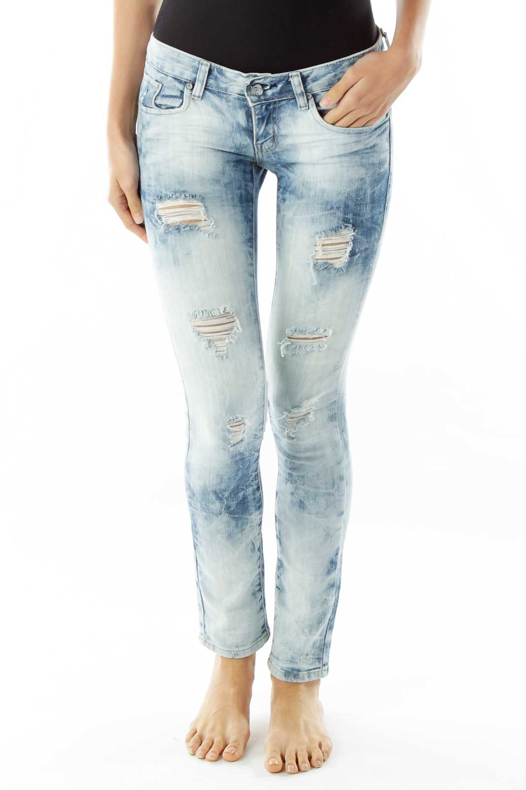 Light Blue Distressed Jeans Front