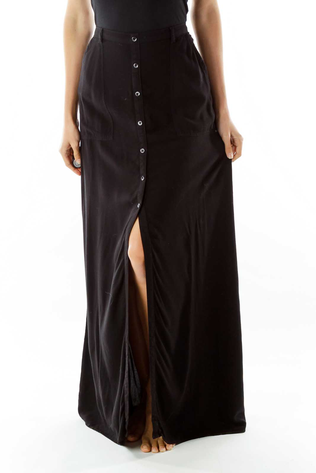 Black Buttoned Maxi Skirt Front