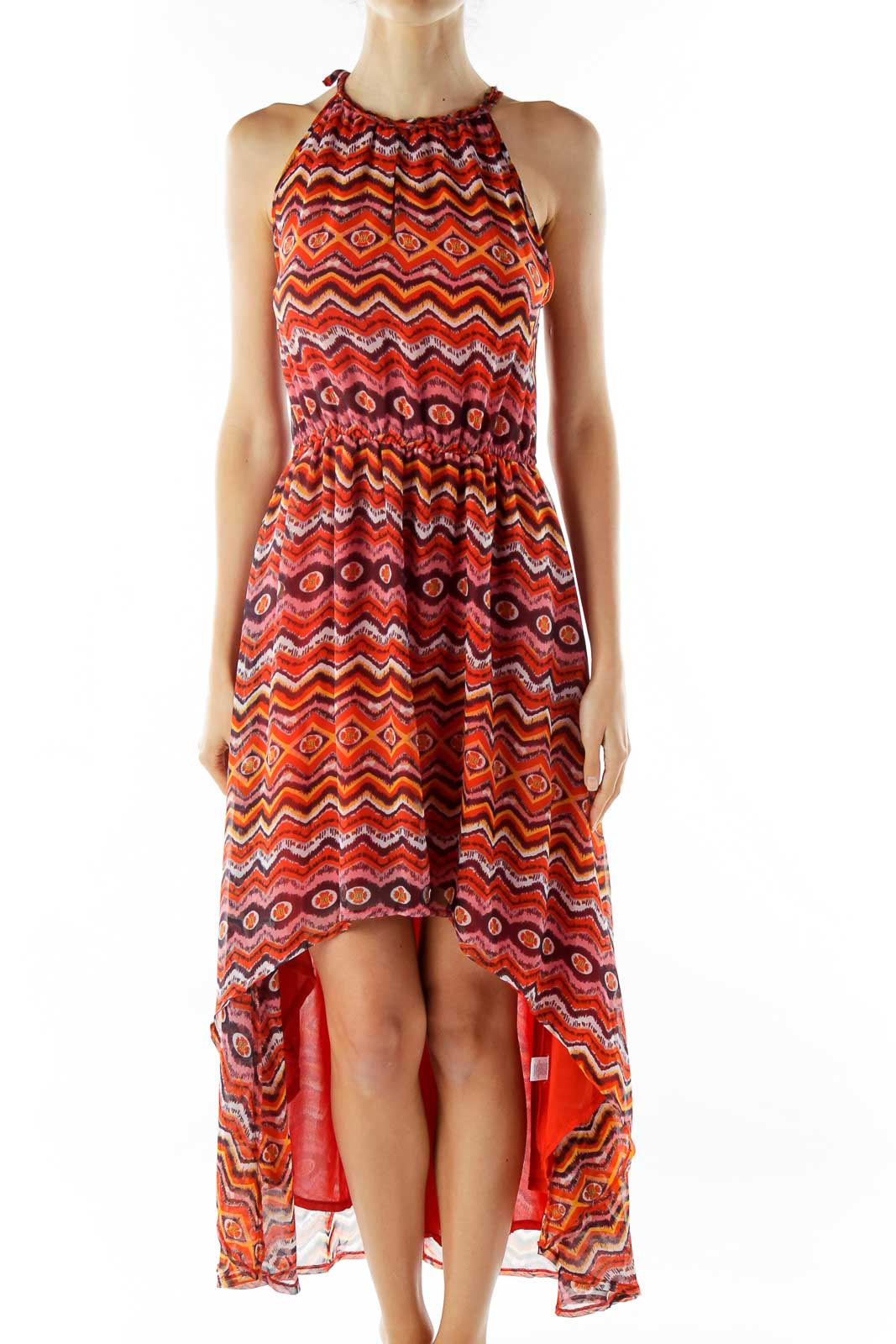 Red Print Sleeveless Day Dress Front