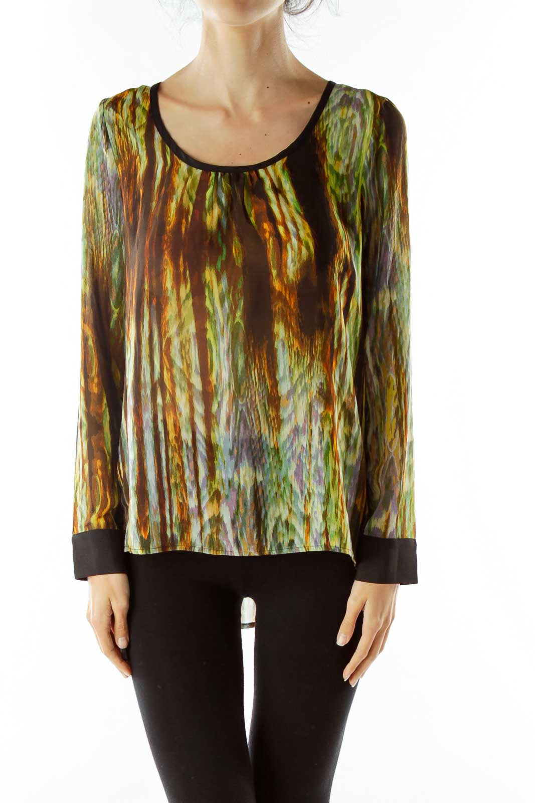 Green Print Blouse Front