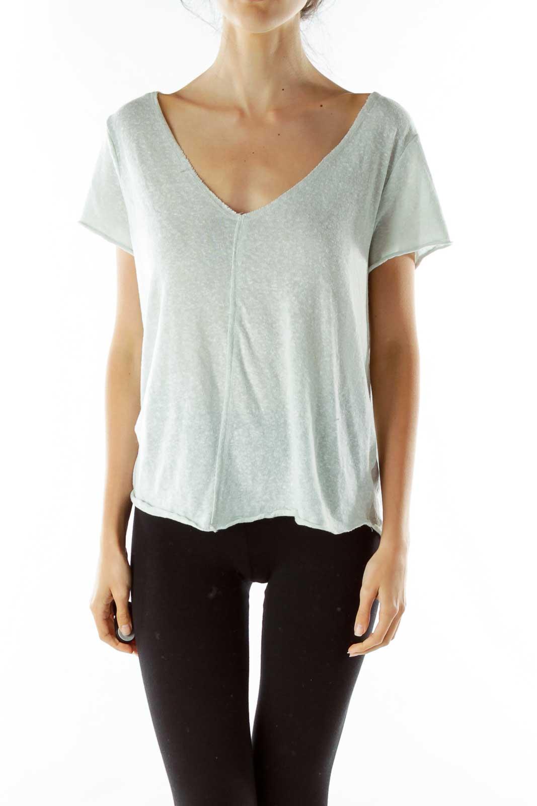 Green V-neck Knit T-shirt Front