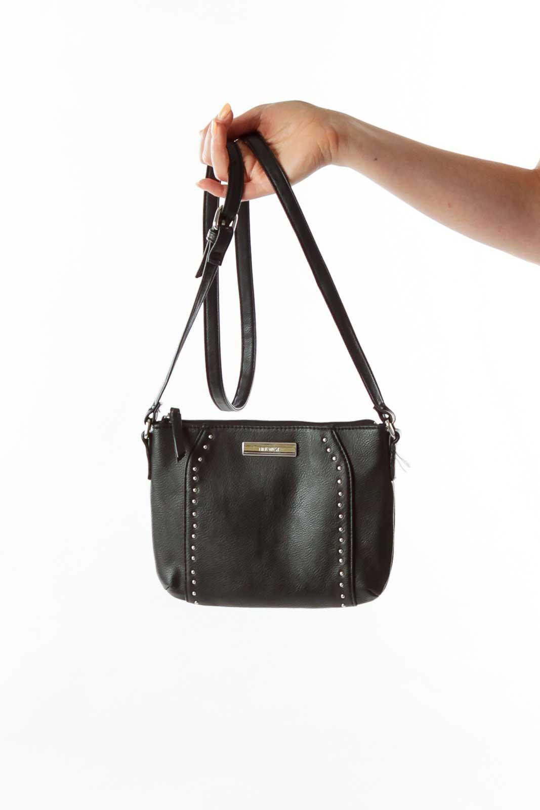 Black Studded Crossbody Bag Front