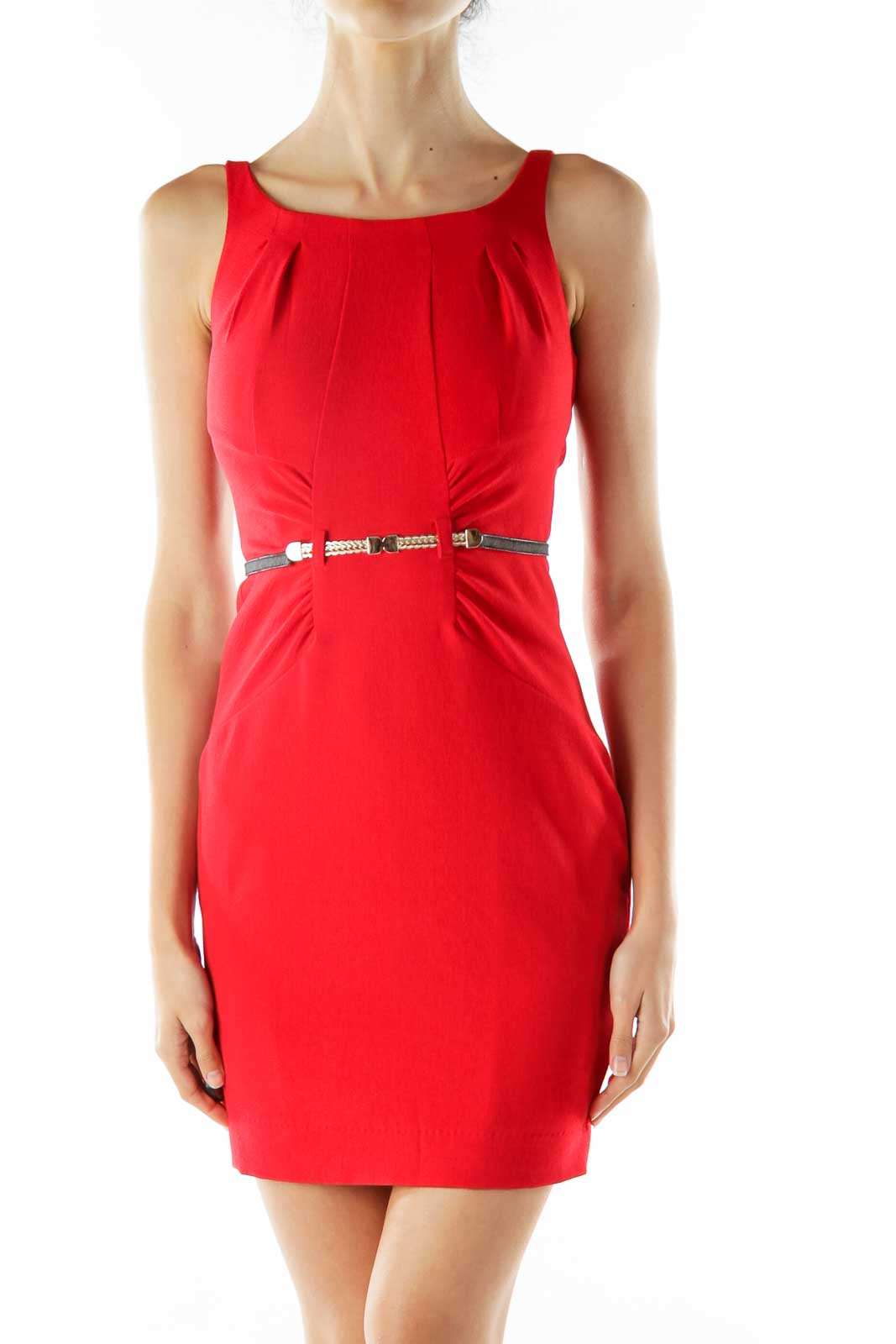 Red Belted Cocktail Dress Front