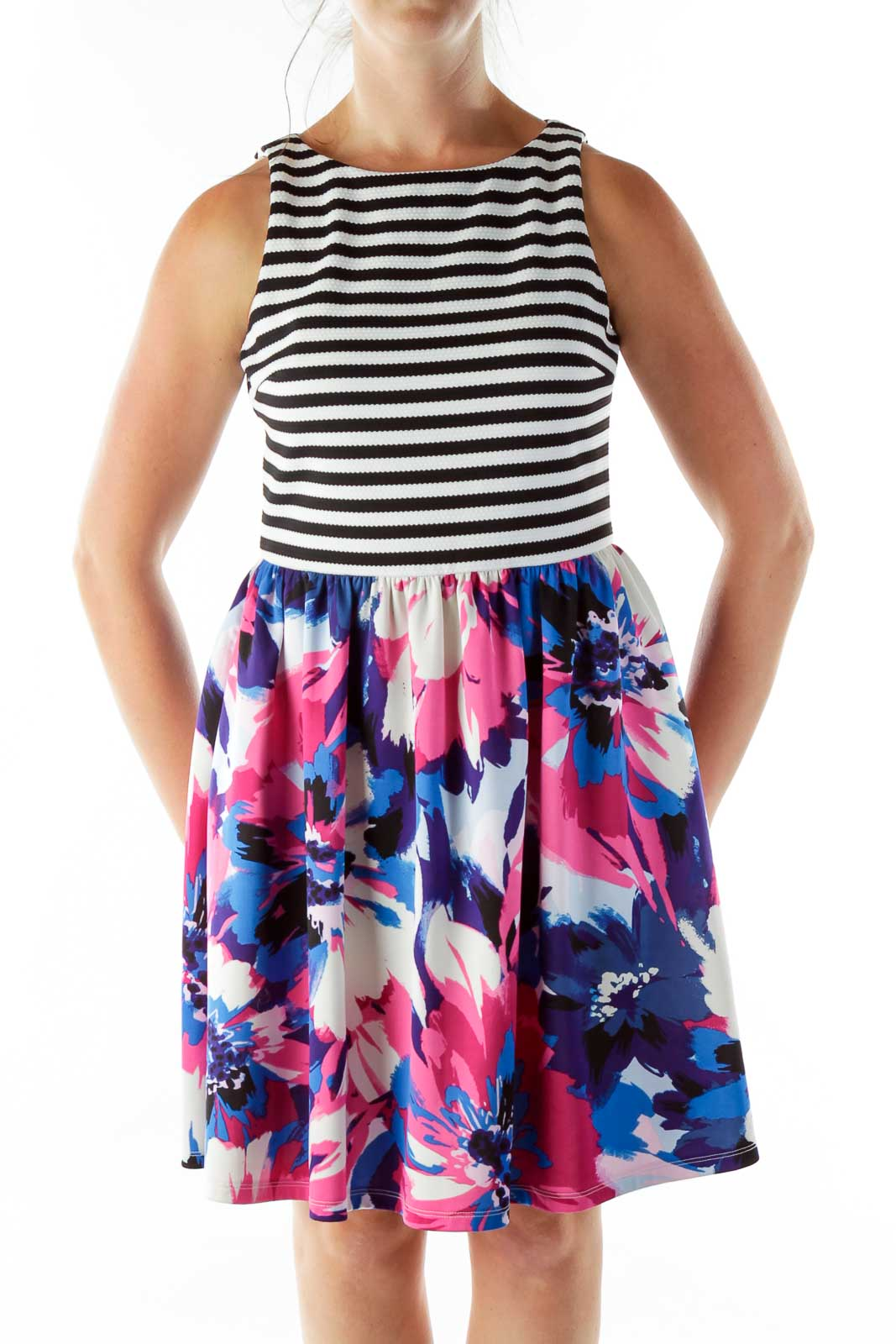 Multicolor Striped Floral Cocktail Dress Front
