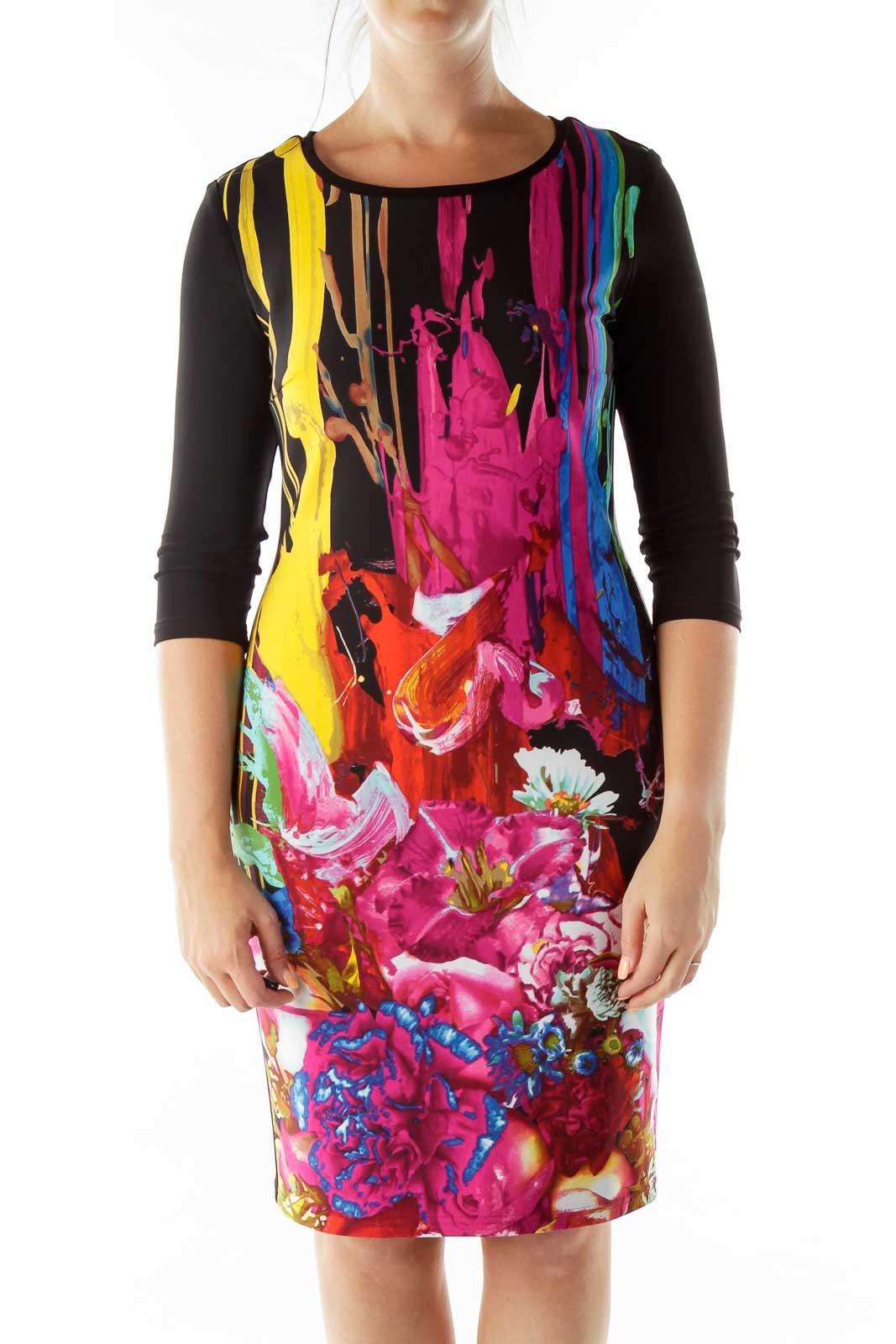 Black Multicolor Print Day Dress Front