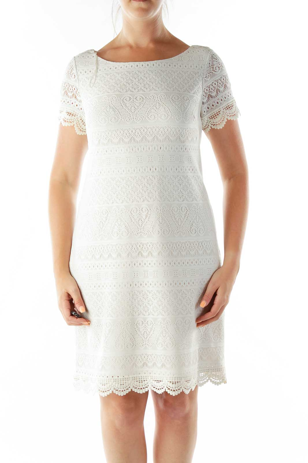 Cream Lace Cocktail Dress Front