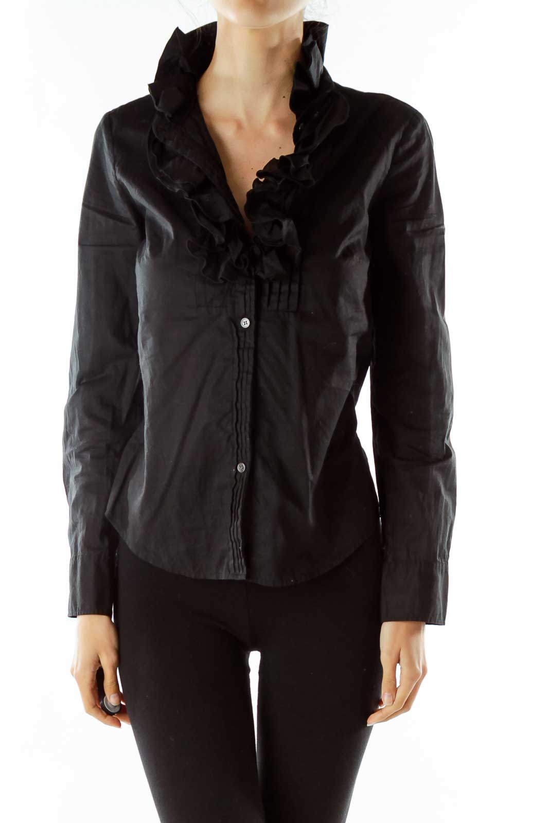 Black Ruffled Fitted Shirt Front