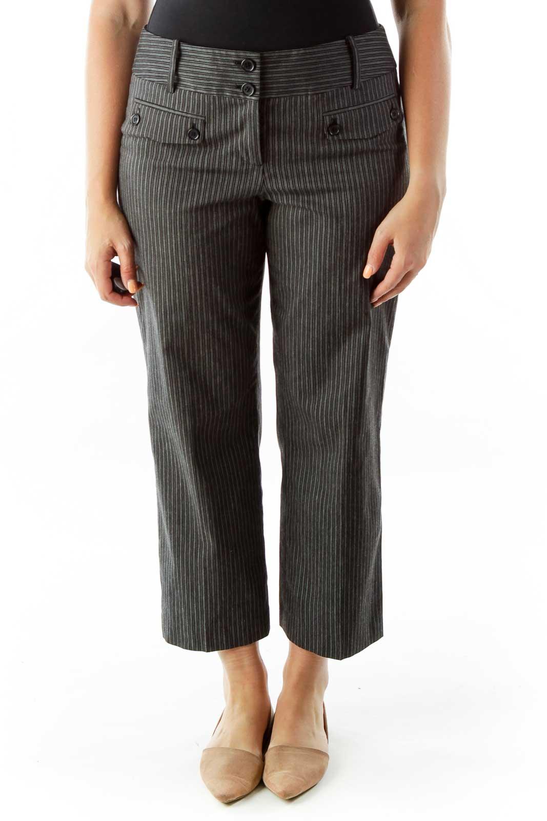 Black White Pin-Stripe Buttoned Slacks Front