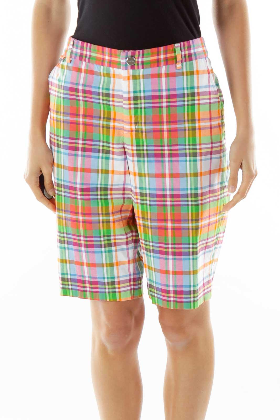 Multicolor Plaid Capri Shorts Front