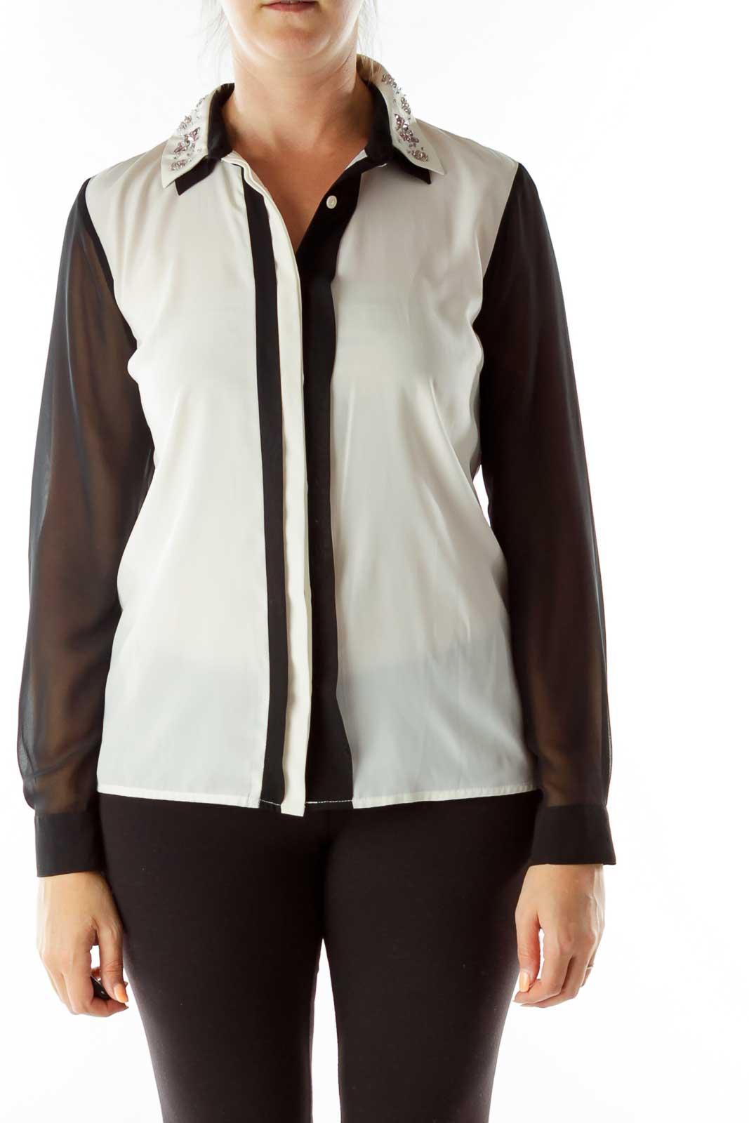 Cream Black Beaded Collar Sheer Shirt Front