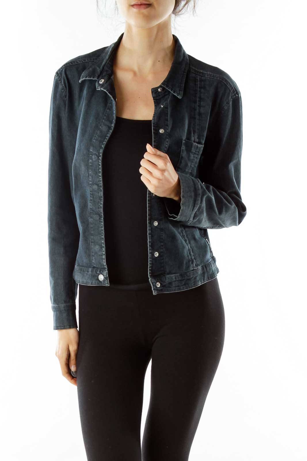 Navy Snap Buttoned Denim Jacket Front