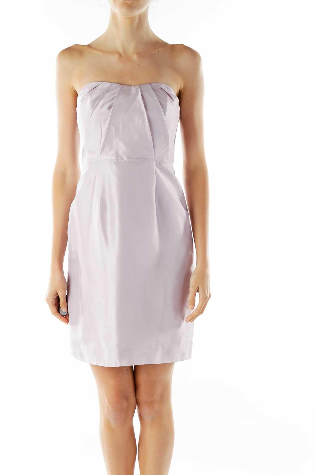 Mauve Strapless Cocktail Dress Front