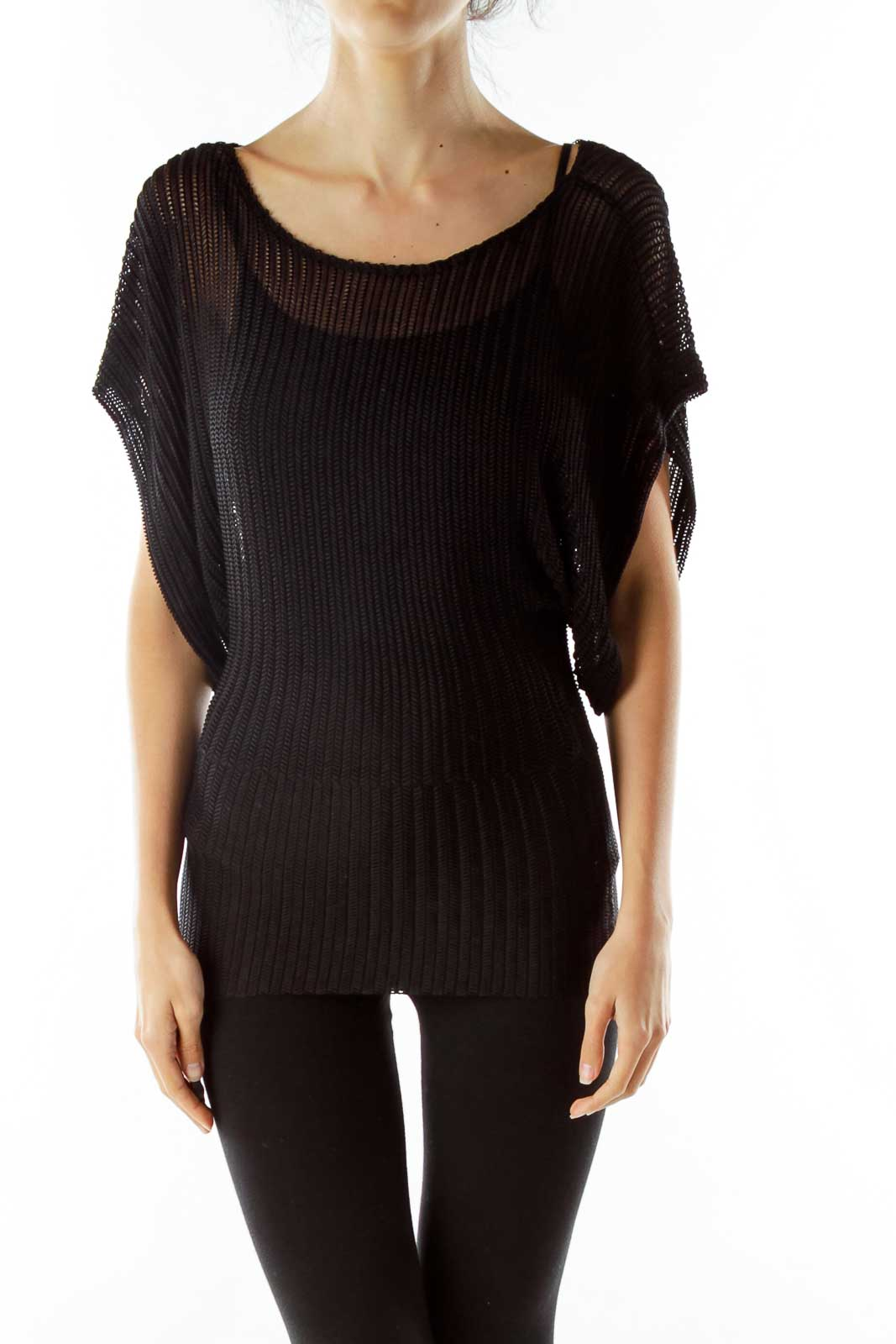 Black Cable Knit Blouse Front