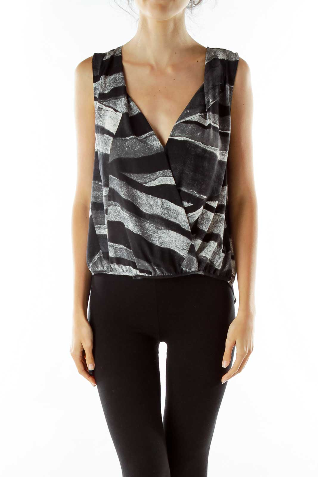 Black Gray Printed Blouse Front