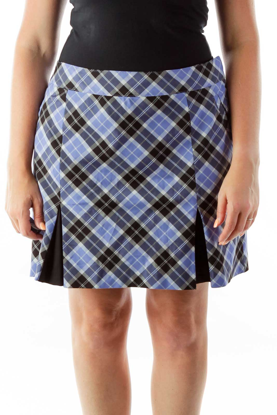 Blue Gray Black Plaid Sports Skort Front